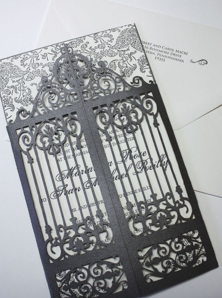 "Laser cut scrollwork gatefold - ""Old Philly"". $5.13, via Etsy."