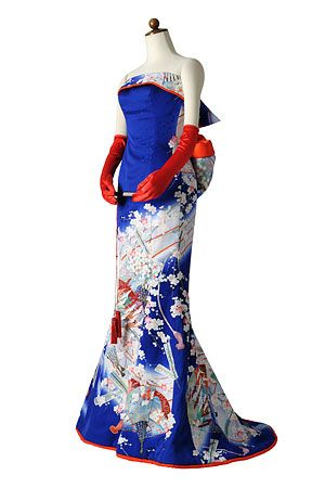 着物ドレスのローブドキモノ カラードレス・マーメイド