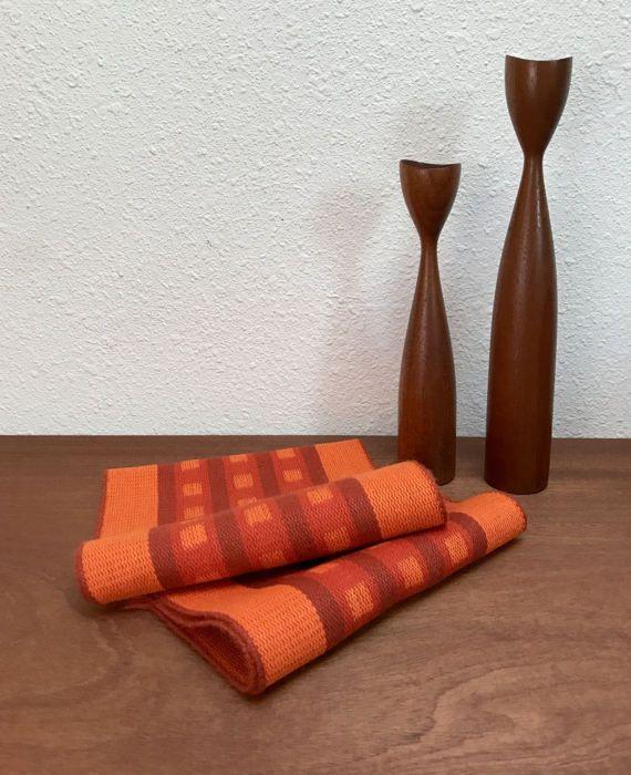 Midcentury handwoven table runner / 1960s modernist wool