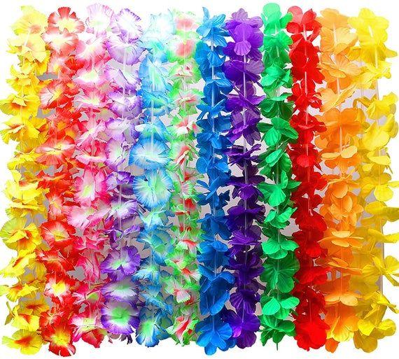 Hawaiian leis necklace tropical luau hawaii silk flower