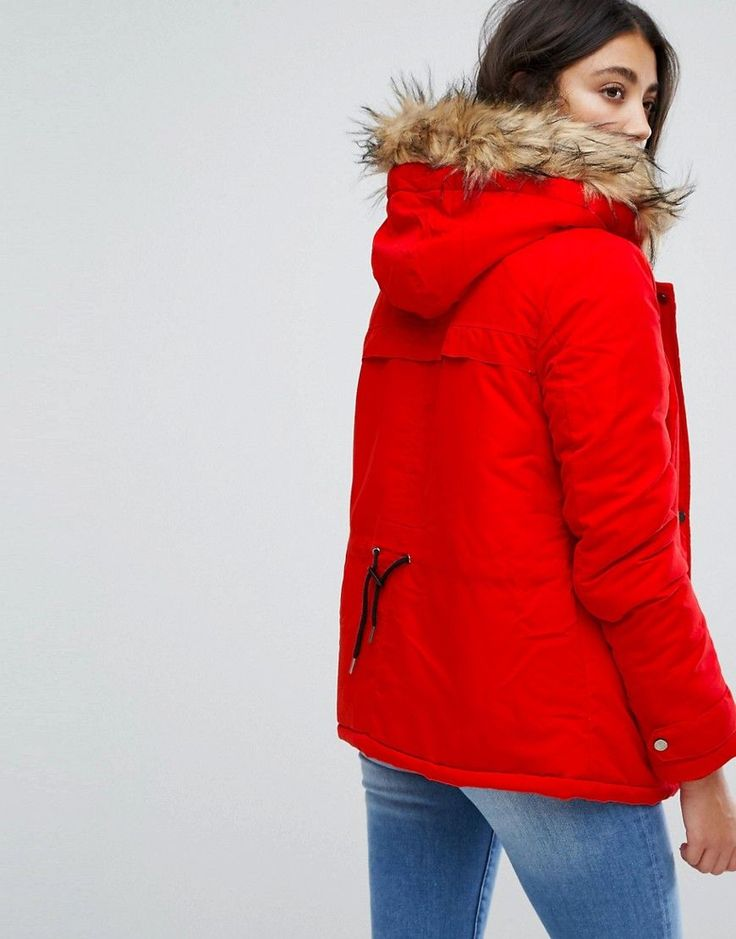 Vila Faux Fur Parka Jacket - Red