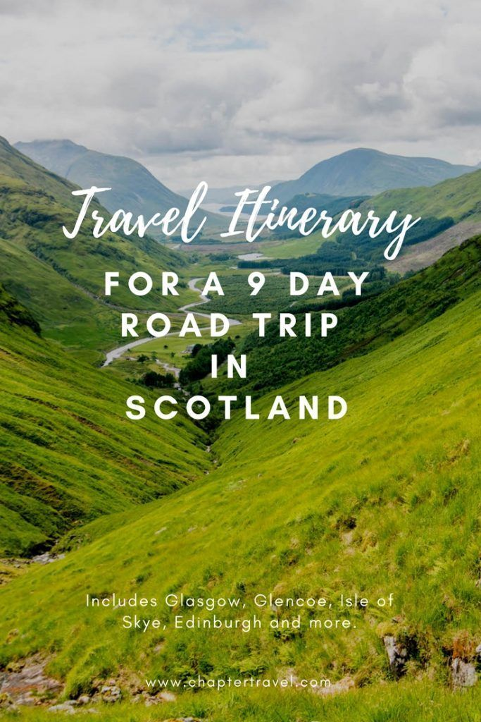 Read our Travel Itinerary for a 9 day Road Trip in Scotland for inspiration for your road trip through Glasgow, Glencoe, Isle of Skye and Edinburgh.