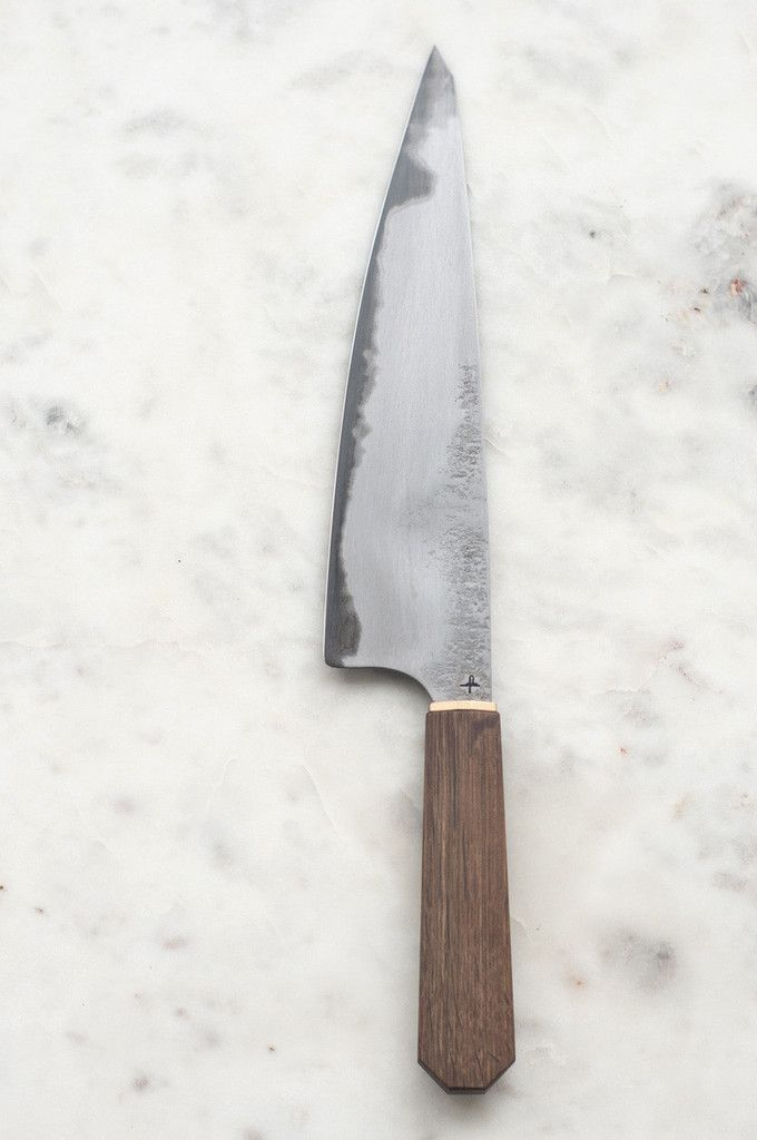 Hohenmoorer Y2 Dreilagenstahl Chef's Knife is hand forged with three layers of steel.