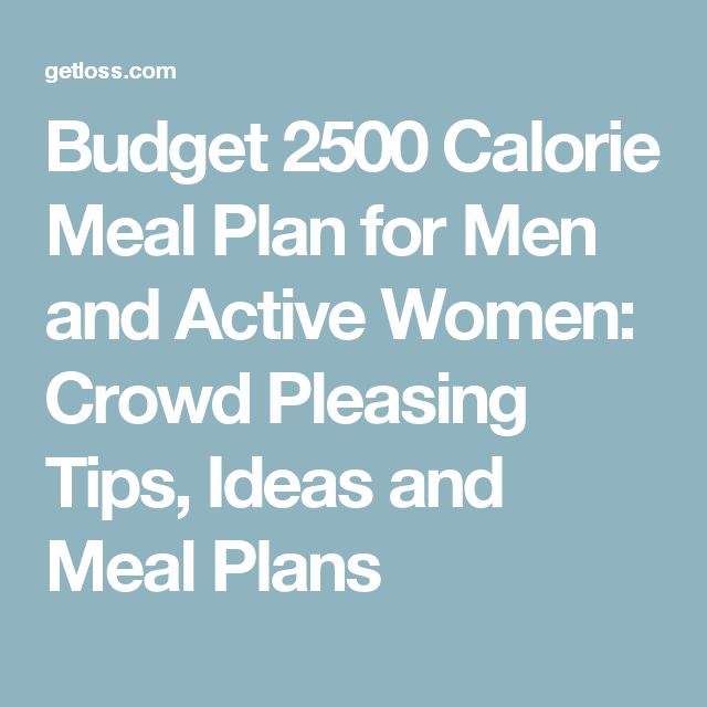 Budget 2500 Calorie Meal Plan for Men and Active Women: Crowd Pleasing Tips, Ideas and Meal Plans