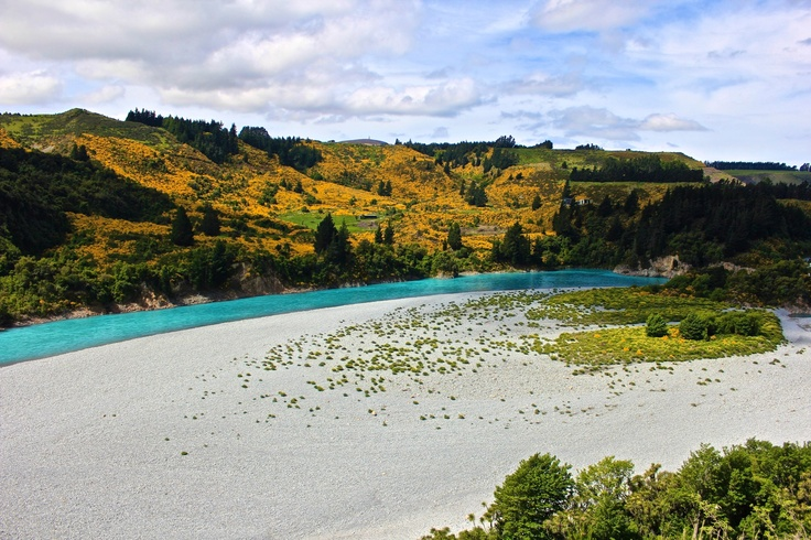 """Waimakariri River, South Island, New Zealand. Most of the rivers here are """"braided"""". In flood, this river will stretch from side to side and carry an enormous flow."""