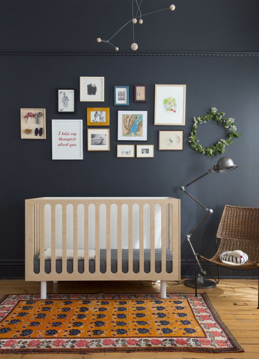 okay how many times do I need to emphasize that parents need to put a crib on a wall with very little above or near it? Babies grow and reach for things. Very dangerous. NEVER put design before safety!!!!! the color combo is modern and I like it but the dresser or desk needs to be under the artwork, not the bed.