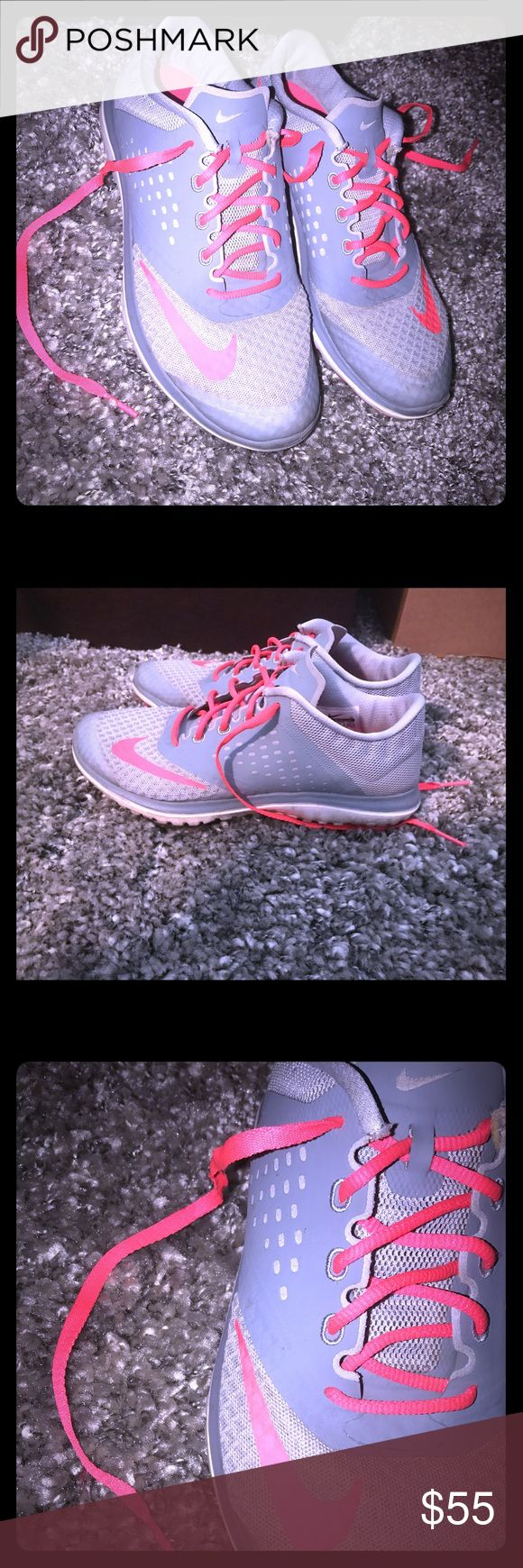 Nike training shoes size 6.5 W Size 6.5 womens pink and grey/silver  Nike symbol hot pink . Training Nike shoes. Love love love these! Nike Shoes Athletic Shoes