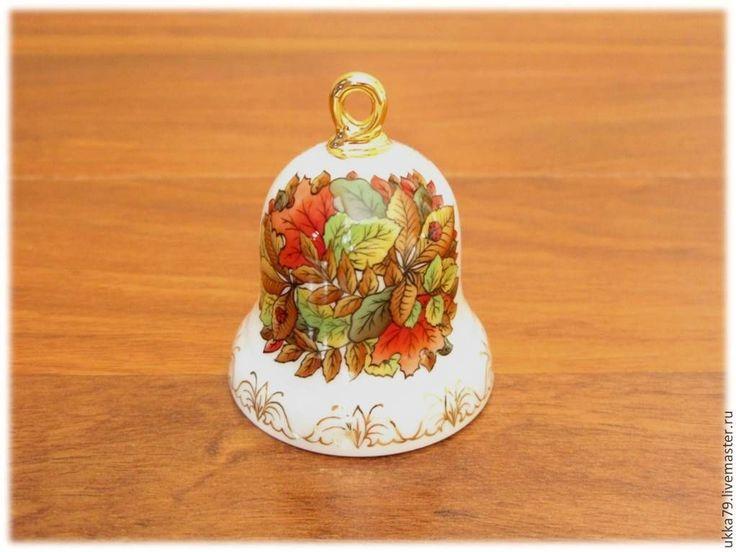 """Купить Колокольчик """"Осенние листья"""" (фарфор, подарок, сувенир) - ручная роспись фарфора, колокольчик фарфор"""