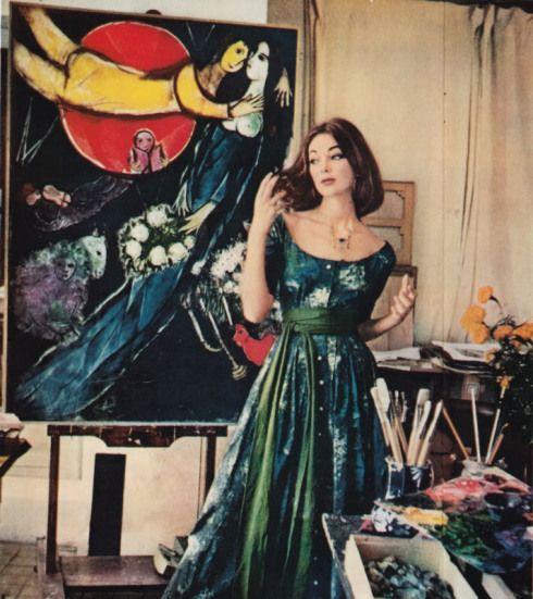 Клэр Маккарделл платье с печатью, разработанный Марком Шагалом, 1955