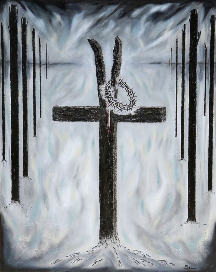 This painting represents the moment after Christ took his last breath, yielding up his spirit. When someone takes their last breath there is a stillness and emptiness, much like a burnt dead forest. The split in the cross represents the earthquake and the veil being torn.The crown of thorns and blood representing the sacrifice that Jesus endured for us. FOR SALE