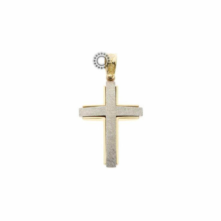 Μοντέρνος βαπτιστικός σταυρός για αγόρι από λευκόχρυσο Κ14 σε σαγρέ χαραγμένη επιφάνεια με χρυσό γυαλιστερό πλαίσιο | Βαπτιστικοί σταυροί ΤΣΑΛΔΑΡΗΣ στο Χαλάνδρι #βαπτιστικός #σταυρός #βάπτισης #αγόρι