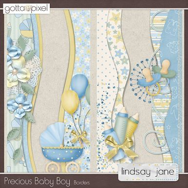 Precious Baby Boy Digital Scrapbook Borders. $2.00 at Gotta Pixel. www.gottapixel.net/