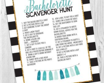 Bachelorette Party Game Scavenger Hunt Instant by Cloud9DesignFL