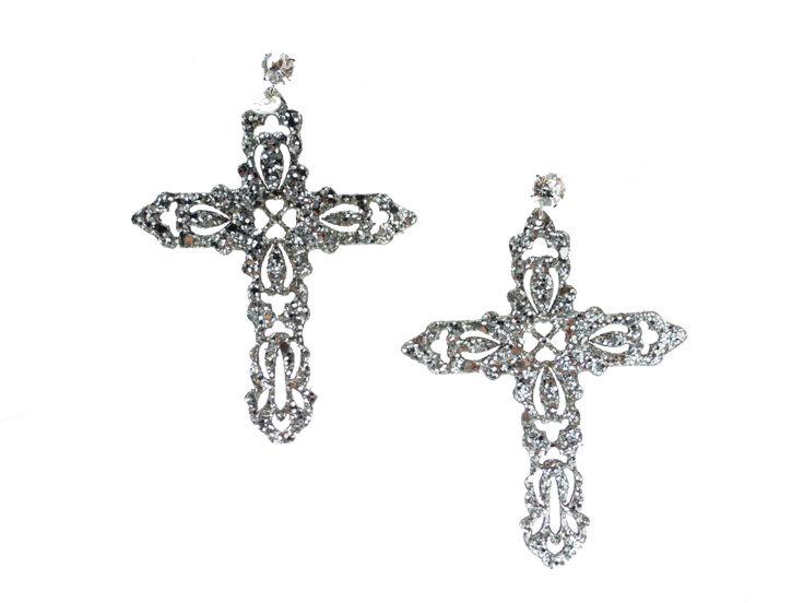 Orecchini #croce silver in tessuto #glitter