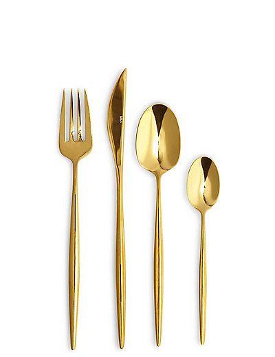 16 Piece Gold Sleek Cutlery Set | M&S