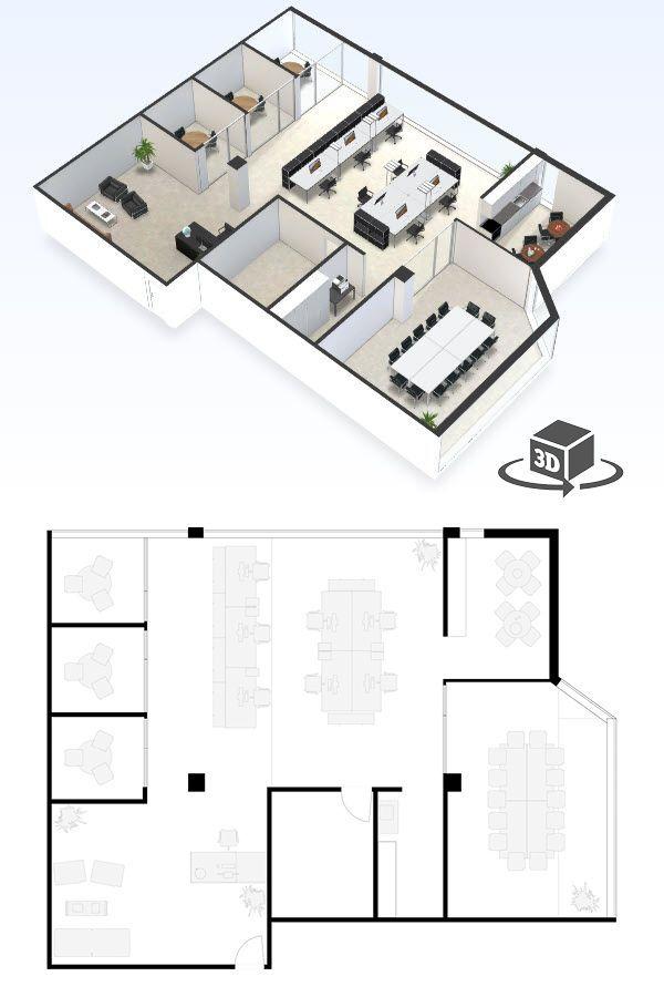 Small Office Floor Plan In Interactive 3d Get Your Own 3d Model
