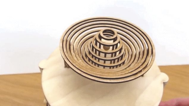 Drawing inspiration from the captivating kinetic sculptures of Reuben Margolin, this beautiful handmade automata by designer Dean O'Callaghan mimics the ripple effect of a droplet making impact with water.