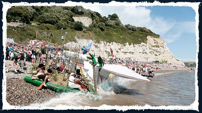 August: regatta week features fishing competitions, lugger racing, firework displays, and, my favourite, the decorated raft competition. Beer Regatta | Beer | East Devon | England