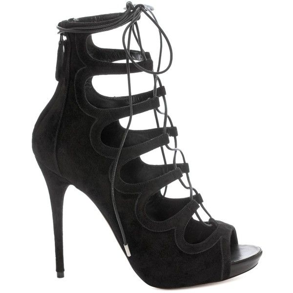 Alexander McQueen Suede Lace Up Sandal ($1,005) ❤ liked on Polyvore featuring shoes, sandals, black, black cap, black shoes, black lace up shoes, black sandals and high heel sandals