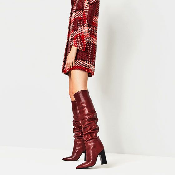 Image 1 of LEATHER HIGH HEEL BOOTS WITH WIDE LEG from Zara