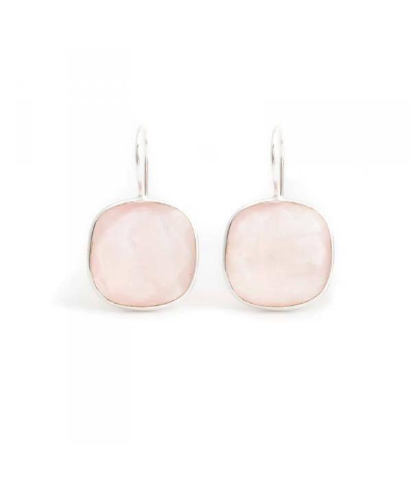 De Vogue Roze oorbellen met rozenkwarts edelstenen in sterling zilver