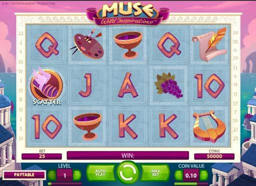 Muse slot is one of the most inspiring games from the Net Entertainment that is based on the Greek Mythology. It is based on the ability to create and tell stories and besides use those skills to earn real money. This therefore renders the Muse slot game one most inspiring game worthy of a play. It incorporates the top notch graphics and music effects that transform the any muse game player with the most superb experience.