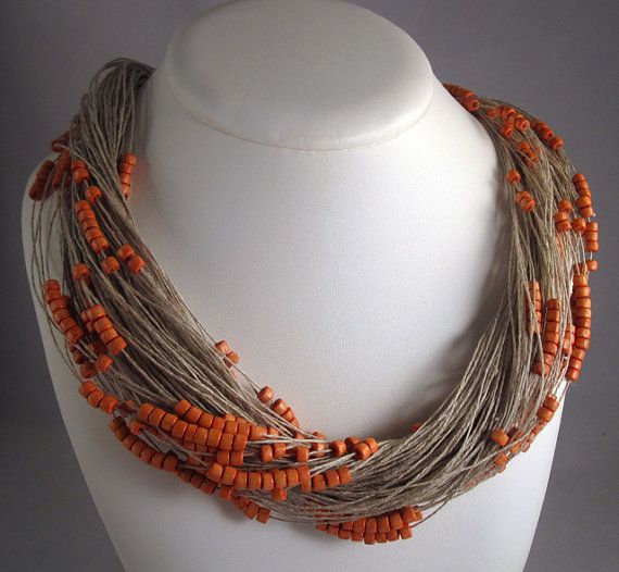 Necklace orange linen thread purple orange green wood by espurna88, €19.99