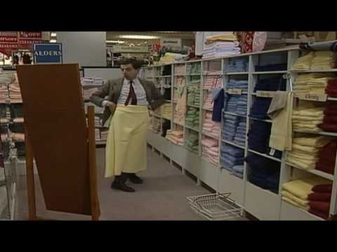 Quick Clip-----Mr Bean - Department Store---Mr Bean takes his new credit card to a department store. He can't stand the make up counter, but manages to get through and continues his shopping. From The Return of Mr Bean.