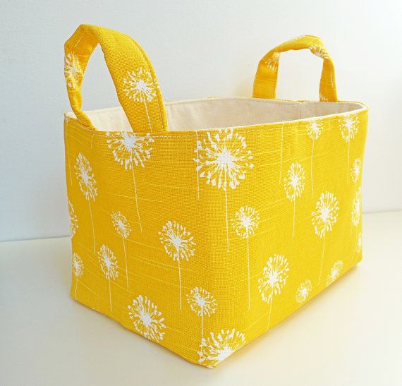 modern organizer yellow | Storage Basket Fabric Organizer in Yellow and White Dandelion - Gift ...