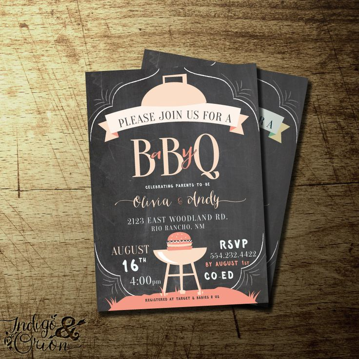BabyQ, Co Ed BBQ Baby Shower Invitation, Boys Or Girls Baby Shower Barbeque