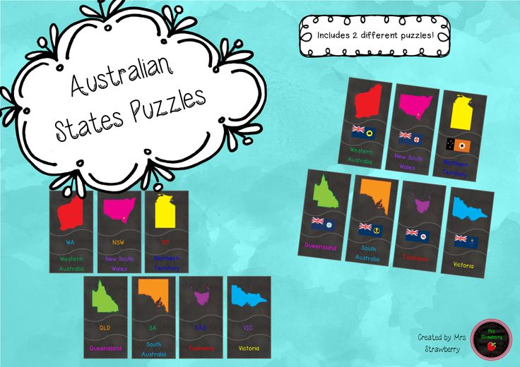 Australian State Puzzle pack contains 2 different puzzles to help your students learn the states of Australia. Puzzle 1: Match a picture of each state with its name and acronym. Puzzle 2: Match a picture of each state with its name and state flag. 6 pages for $2.50!