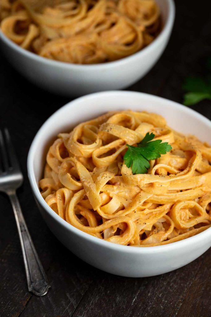 Vegan Sun Dried Tomato Alfredo Pasta