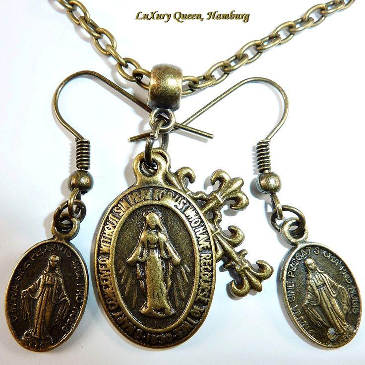 Bronze-Schmuck-Set aus Kette & Ohrringen Heilige Madonna Milagrosa Schutzgöttin Schutzamulett Glücksbringer Gebetskette Taufe Kommunion von MissAraBeeXX auf Etsy