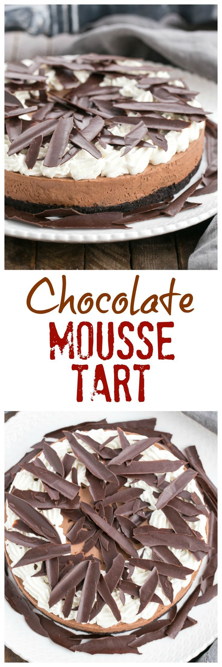Easy Chocolate Mousse Cake | Chocolate cookie crust, whipped chocolate mousse topped with chocolate shards @lizzydo