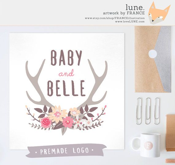 Premade Logo: Floral Antlers. Customizable by FRANCEillustration