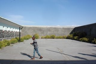 The courtyard at Robben Island, where Nelson Mandela was imprisoned for 25 years.
