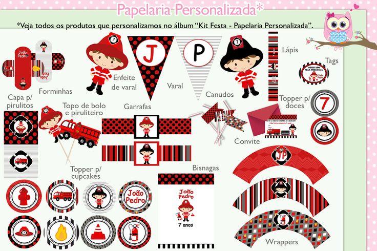 Papelaria Personalizada Bombeiro Preto e Vermelho. Kit Festa Bombeiro Preto e Vermelho.