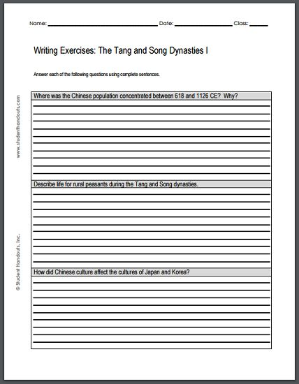 tang dynasty worksheet Chinese dynasty magazine project activity sui, tang, song, yaun, ming in research project activity students create a magazine about one of the five dyanasties (sui, tang, song, yaun, ming) by using a guiding questions handout.