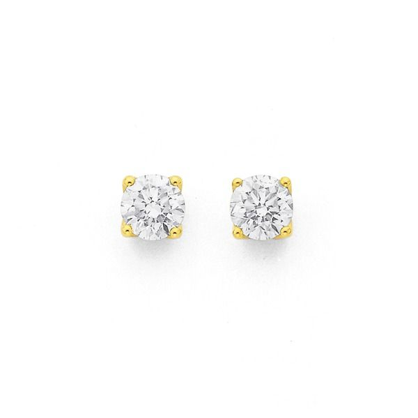 9ct Gold Round Brilliant Diamond Stud Earrings