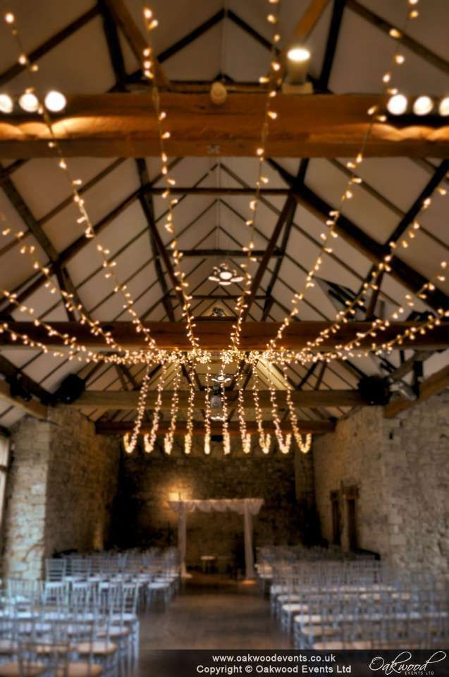 Our gathered fairy light canopy in the Notley Abbey refectory