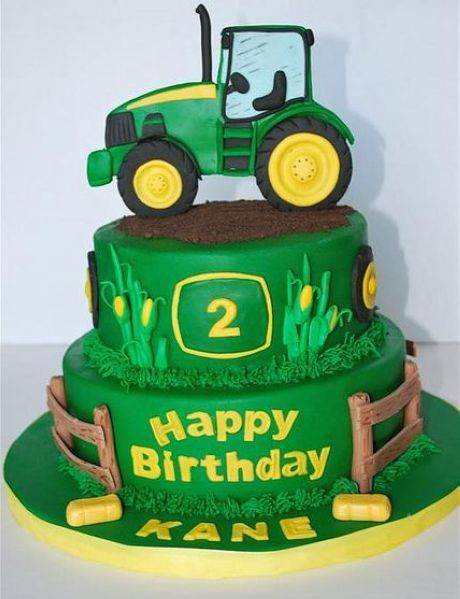 John Deere tractor cake - love the design of corn and tires with the words and 2 and the dirt on top