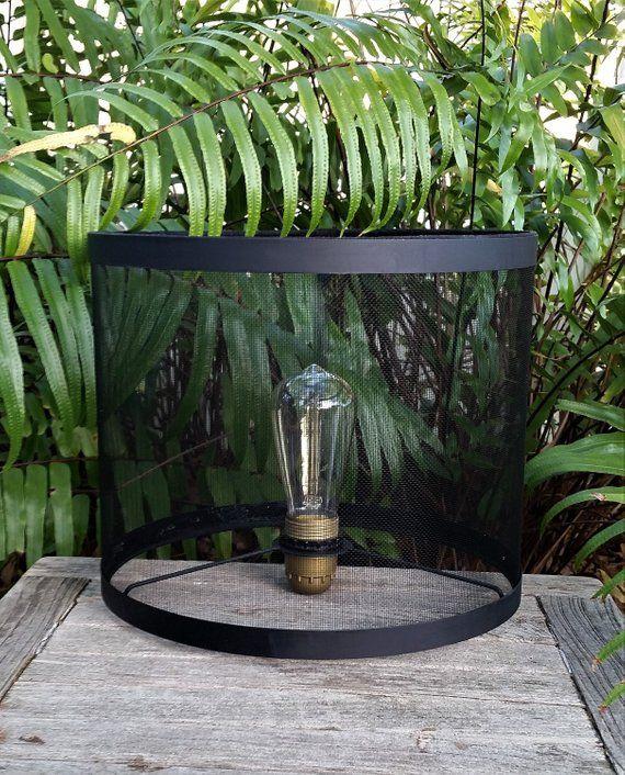 Black Wire Mesh Lampshade Drum Lamp Shade Phenolic Socket Etsy Drum Lampshade Lamp Wire Mesh