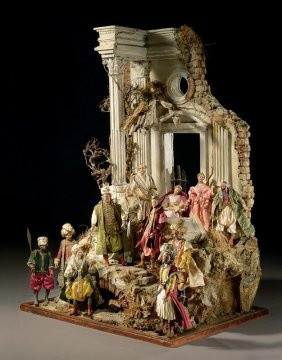 A large Neapolitan creche scene, 18th Century, sold through Sotheby's New York