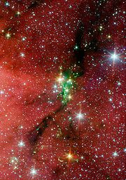 The Serpens South star cluster is featured in DJ Badon's scene desgin!