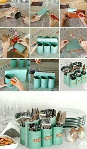 Use cans to make an adorable silverwear holder