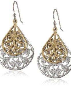 1928-Jewelry-Two-Tone-Vine-Filigree-Teardrop-Earrings-0