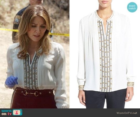 Maura's white embellished blouse on Rizzoli and Isles. Outfit Details: https://wornontv.net/59239/ #RizzoliandIsles