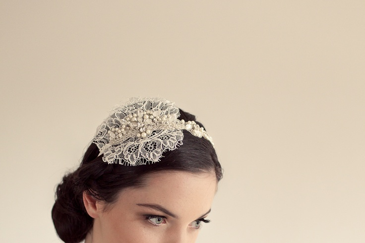 Enchanted Sonnet - French Lace, crystal & pearl head band - Amanda May