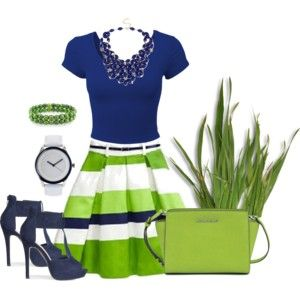 Navy Blue & Lime Green Outfit