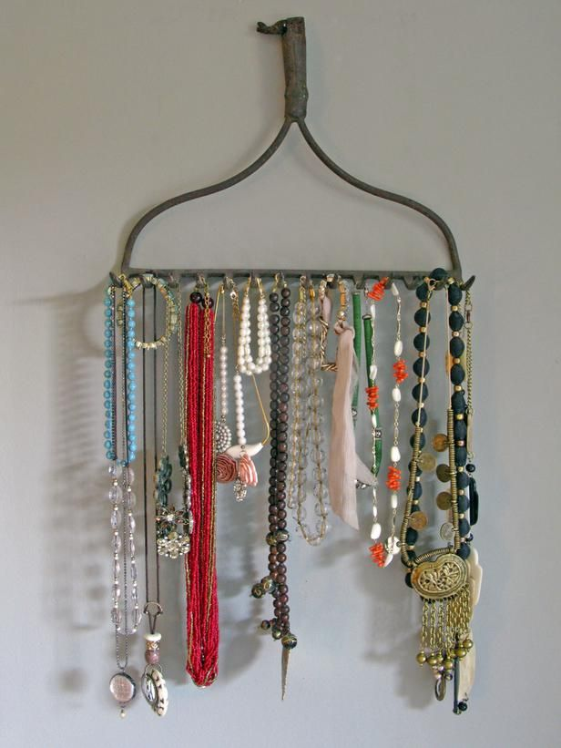 To keep your bracelets and necklaces nice and tidy, look no further than the garage. You would be surprised at how well a vintage rake head keeps necklaces untangled and hanging beautifully on the wall.